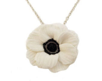 White Anemone Flower Necklace - Anemone Jewelry, Anemone Flowers
