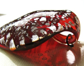 Foiled Glass Leaf Drop Pendant