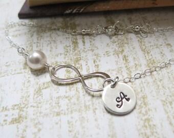 Personalized Infinity Bracelet, Be My Bridesmaid eternity,infinity,maid of honor bridal gift,bridesmaids,wedding,skinny  silver bracelet