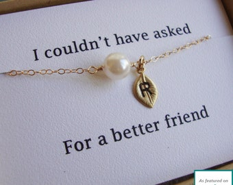 Bridesmaid Pearl & Leaf Bracelet Card Set - FEATURED On MSN LIVING - Adjustable, Hand Stamped Initial, Wedding, Best Friend, Maid of Honor