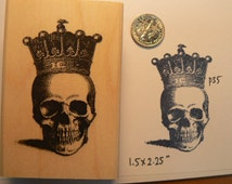 Skull with crown rubber stamp WM p35