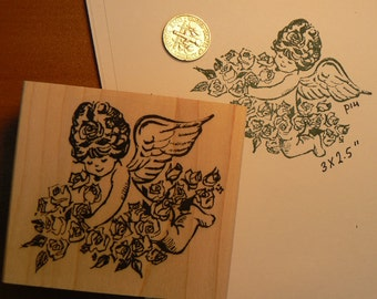 Little angel with flowers rubber stamp WM P14