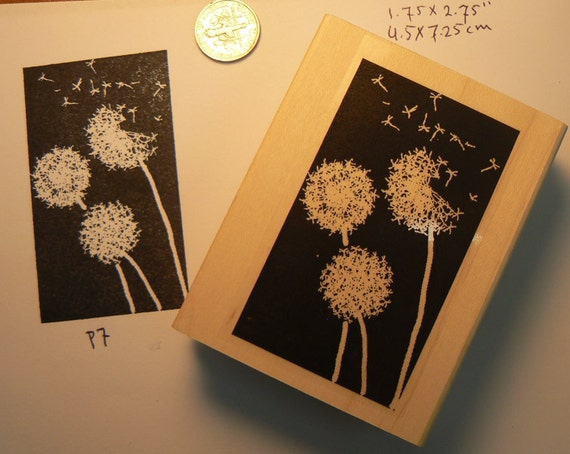 Dandelion rubber stamp inverted WM P7
