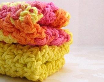 Pink, Orange and Yellow Cotton Crochet Washcloths