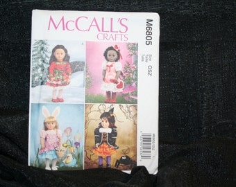 """UNCUT NEW  McCalls 6805 American Girl 18"""" Fashion type Doll Holiday clothes sewing pattern SEWBUSY12"""