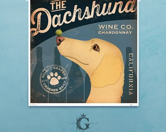 Dachshund Wine Company artwork original graphic illustration signed archival artists print giclee by Stephen Fowler