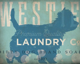 Westie Laundry Company illustration graphic art on gallery wrap canvas by stephen fowler