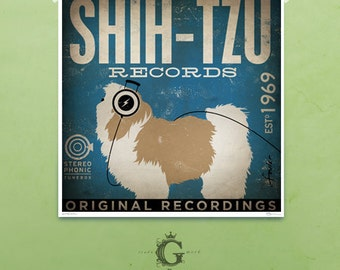 Shih Tzu Dog Records original graphic art giclee archival print by stephen fowler