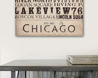 Chicago Streets Typography word art on gallery wrapped canvas by Stephen Fowler