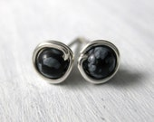 Mini Stud Earrings Second Piercing 4mm Snowflake Obsidian Wire Wrapped Sterling Silver Studs
