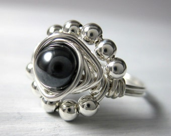 Cocktail Ring Wire Wrapped Ring Hematite and Sterling Silver Princess Cocktail Ring