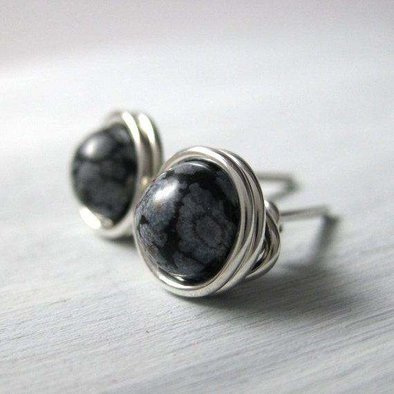 Snowflake Obsidian Stud Earrings 6mm Wire Wrapped Sterling Silver -- Simply Studs