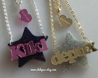 STAR name necklace laser cut