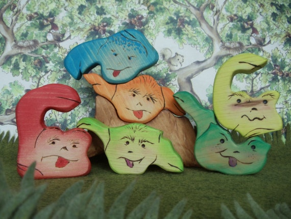 SALE - Kids Toy Naughty & Nice Monsters - Waldorf Inspired Wooden Nature Toys - Set of 7
