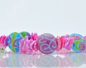 Bright Pink Bracelet - Colorful Lampwork and Pink Kashi Pearl Petals