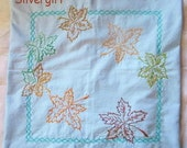 """Light Blue Autumn Colored Embroidered Leaf Square Throw Pillow Cover 15 x 15"""""""