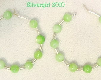 "1 1/2"" Silver Plate Green Shell Hoop Earrings"
