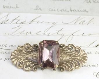 Victorian crystal barrette hair clip bridal jewel amethyst purple emerald green vintage antique style wedding hair accessory