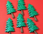 Green Glitter Tree Flatback Accents