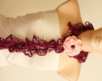 Purple Dream Color Web lace Handmade Crochet Scarf with brooch
