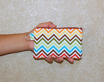 Chevron (Bermuda)  - iPhone 6s, iPhone 6, iPhone 5, iPhone 4, Samsung Galaxy S5/S6 - Cell Phone Gadget Zipper Pouch / Coin Purse