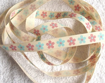 Natural, Pink and Blue Flower Ribbon. 15mm x 2 metres