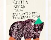 Foodie Poster, Kitchen Art, Animals, Humor, Kitchen decor, Quirky Children's Art, Gluten free, Food, Foodie Gift, Fine Art Print