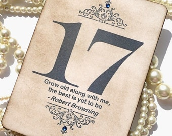 Wedding Table Numbers with Gems - Vintage Navy - Quotes