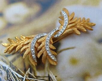 Vintage Rhinestone Leaf Brooch, Pin ... Wispy Trailing Leaves, Pave Rhinestones