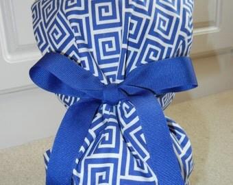 Turn Up Ponytail Scrub Hat with Royal Greek Keys