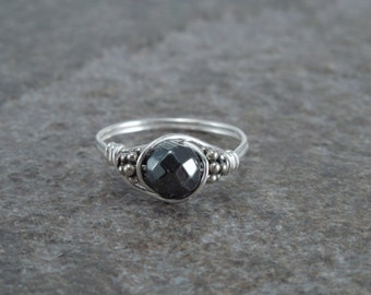 Faceted Hematite Sterling Silver Bali Bead Ring - Any Size