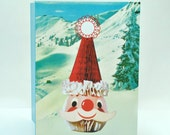 Santa on the Slopes! Retro Christmas Greeting Card