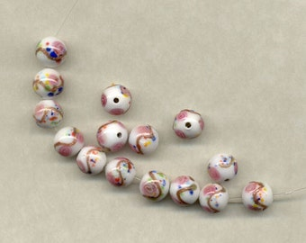 12 Vintage Czechoslovakian Glass 8mm Beads White Pink Flowers