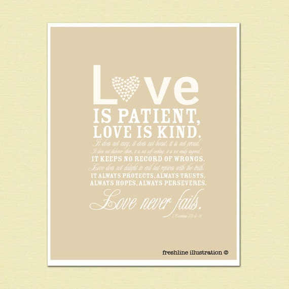 Items Similar To Love Is Patient, Love Is Kind, Bible