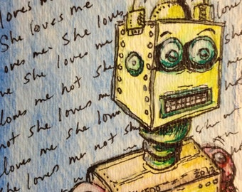 ACEO Robot Print  Robot Love Yellow by Rebecca Salcedo She Love Me She Love Me Not