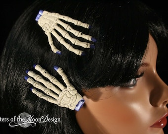 Skeleton hands hair clips with painted matallic blue nails pair -- Sisters of the Moon