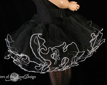 black adult tutu skirt with white trim extra poofy bridal goth club uv petticoat gogo dance run  -- You Choose Size -- Sisters of the Moon