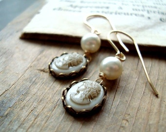 Bridal Cameo and Pearl Earrings Gold Brass Jewelry Vintage Style Bridal Jewelry Cameo Jewelry Weddings Old Fashioned Wedding