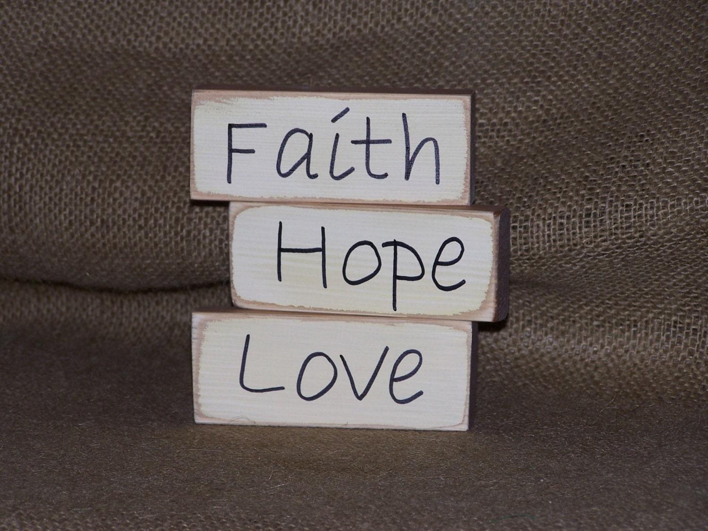 Home decor wood blocks faith hope love rustic country by for Faith decor
