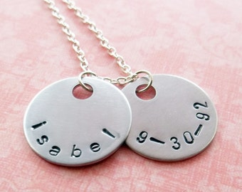 Custom Handstamped 2 Disc Name and Date Necklace