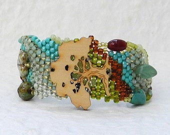 Free Form Peyote Stitch Beaded Bracelet  - Tree of Life - EBW Team