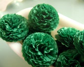 Wedding Paper Flowers Button Mums Tissue Paper Flowers 1 Inch Flowers  Evergreen  Bridal Shower, Baby Shower Decor