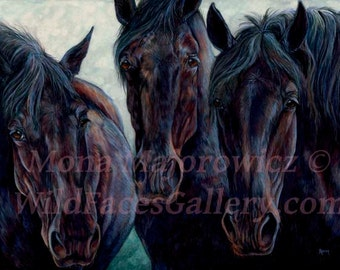 Black Horse Art, Draft Horse Painting - The Big Blacks Percheron Draft Horse Print, horse decor, horse gift, western art, western decor