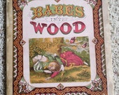 Children's color storybook Babes in the Wood very old mounted on linen pages
