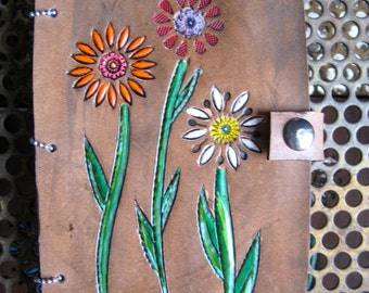 Leather Tooled Flower Journal Diary with Retro Recycled Book Vintage Wallpaper Lined Paper with Snap Closure gift