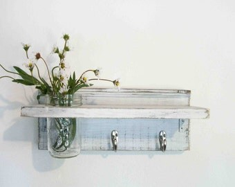 Wood French Country Wall Shelf  Hooks Faded Linen Wedding White Color Shabby Beach Chic  Cottage