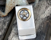 Money / Card Clip - Brass Star on Nickel, Large