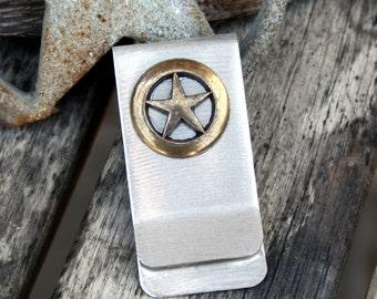 Money / Card Clip - Brass Star on Nickel, Large