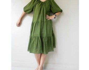 Custom Made Cute Green Cotton  Patchwork  Loose Boho Summer Tunic Ruffle  Dress   (H)