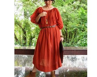 Custom Made Boho Hippie Orange Cotton Pleats Loose Tunic  Maxi Dress S-L (H)